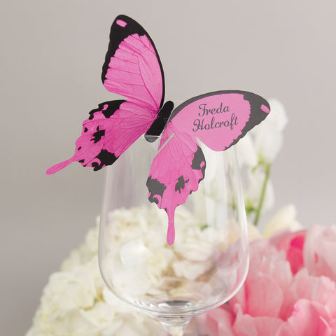 Sample - Butterfly Wine Glass Place Card in Raspberry