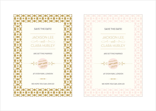Geo Star Classic Save the Date in Gold or Nude