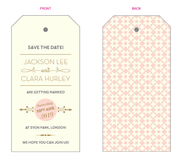 Geo Star Luggage Tag Save the Date, 2 colour options
