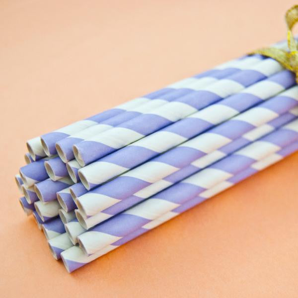 Stripey Straws Lilac Pack of 25