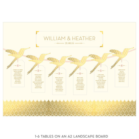 Love Lace Metallics Hummingbird Table Plan in Gold, Rose Gold & Silver