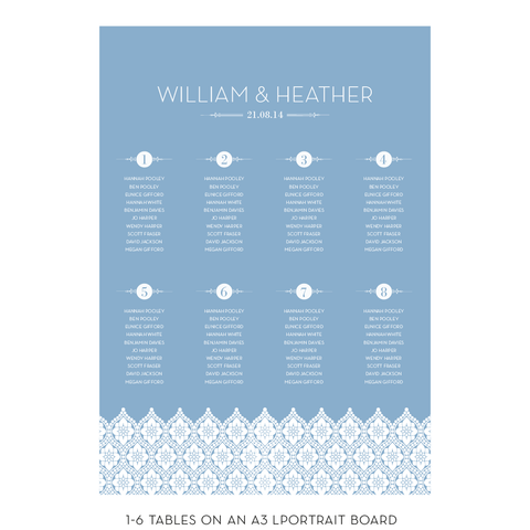 Love Lace Classic Table Plan, 4 colour options
