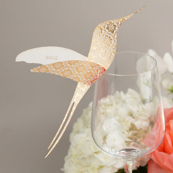 Love Lace Metallics Hummingbird Wine Glass Place Cards, personalised