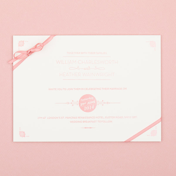 Sample - St Pancras Letterpress Invitation Salmon Pink on Ivory