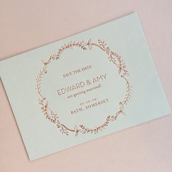 Heritage Sprig Letterpress Save the Date
