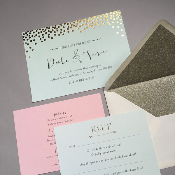 Scatter Invitation suite in Rose Gold foil on Mint & Blush