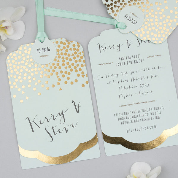 Scatter Luxe Invitation suite in Gold foil/Mint