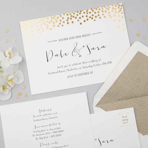 Scatter Invitation suite in Gold foil on Ivory