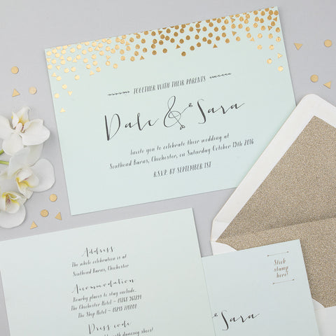 Scatter Invitation suite in Gold foil on Mint