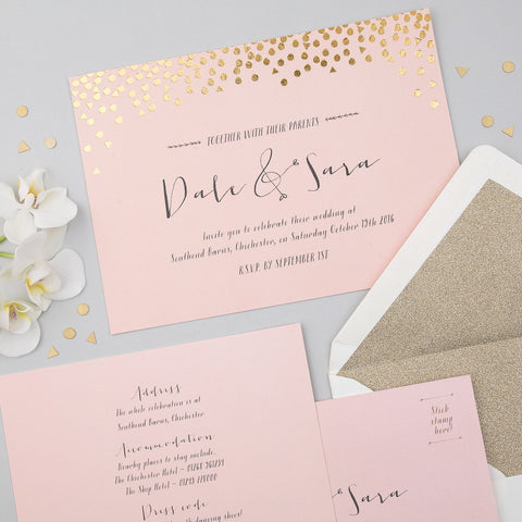 Scatter Invitation suite in Gold foil on Rose