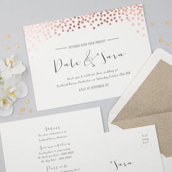 Scatter Invitation suite in Rose Gold foil on Ivory