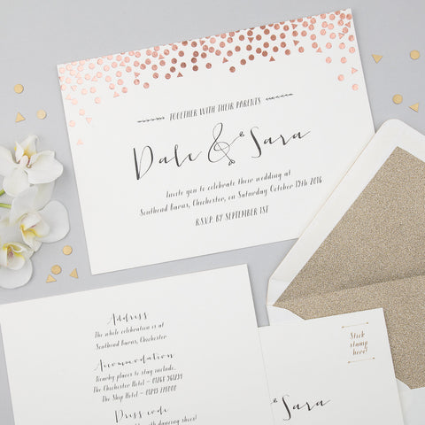 Sample - Scatter Invitation in Rose Gold/Ivory
