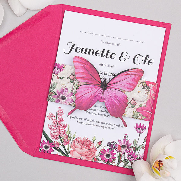 Blooms Butterfly Invitation suite in Pink