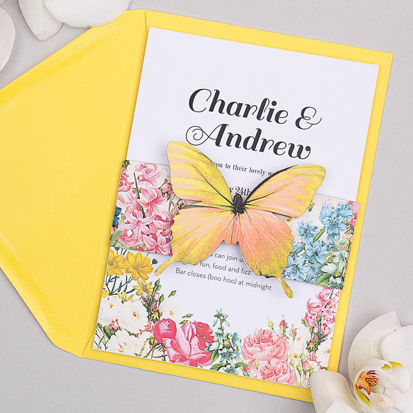 Blooms Butterfly Invitation suite in Summer