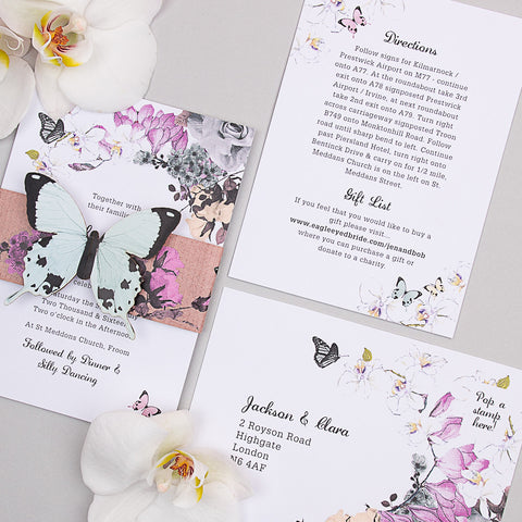 Midsummer Butterfly Invitation suite in White/Brown Kraft