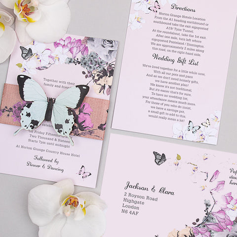 Midsummer Butterfly Invitation suite in Blush