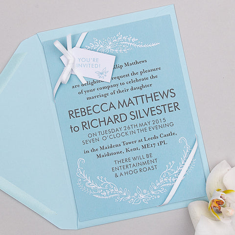 Heritage Sprig Invitation suite in Sky Blue