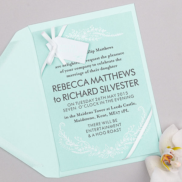 Heritage Sprig Invitation suite in Mint