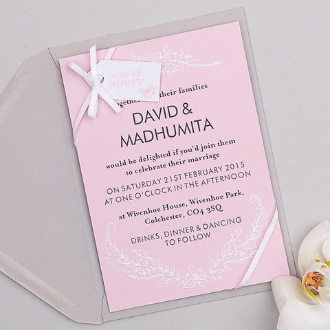 Heritage Sprig Invitation suite in Salmon Pink