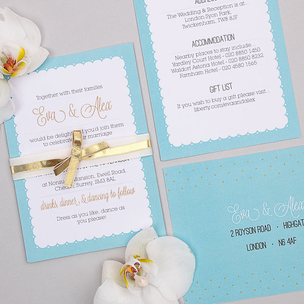 Holly Golightly Invitation suite in Hepburn Blue