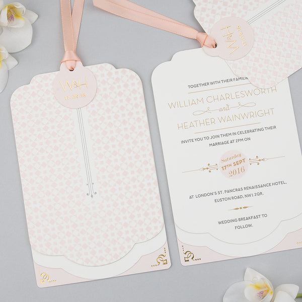 Geo Star Luxe Invitation suite in Blush foil on Ivory