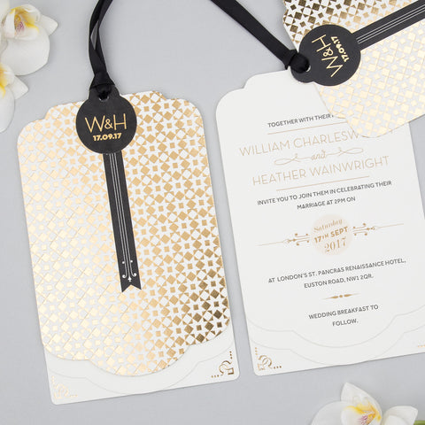 Geo Star Luxe Invitation suite in Gold foil on Ivory