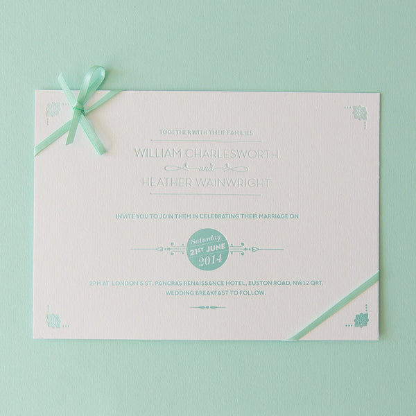 Sample - St Pancras Letterpress Invitation Mint on White