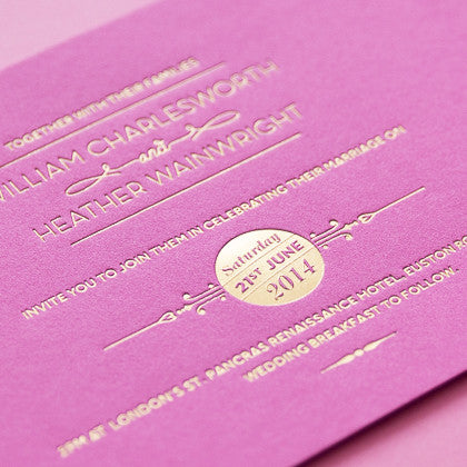 St Pancras Collection Letterpress Invitation, Gold on Fuchsia