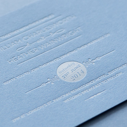 Sample - St Pancras Letterpress Invitation White on Barlow Blue