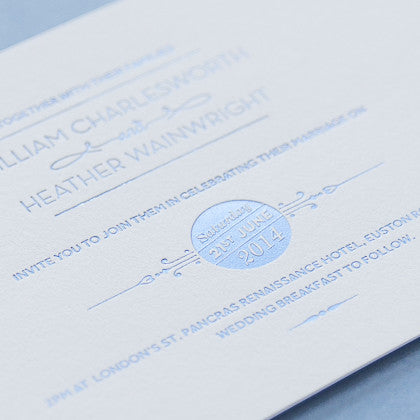 Sample - St Pancras Letterpress Invitation in Barlow Blue on Ivory