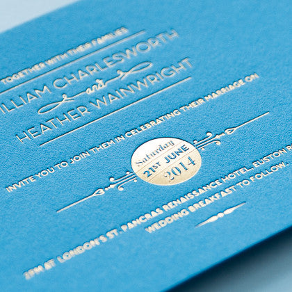 Sample - St Pancras Letterpress Invitation Gold on Peacock