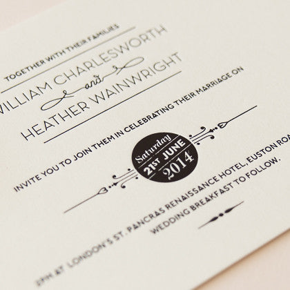St Pancras Collection Letterpress Invitation, Black on Ivory