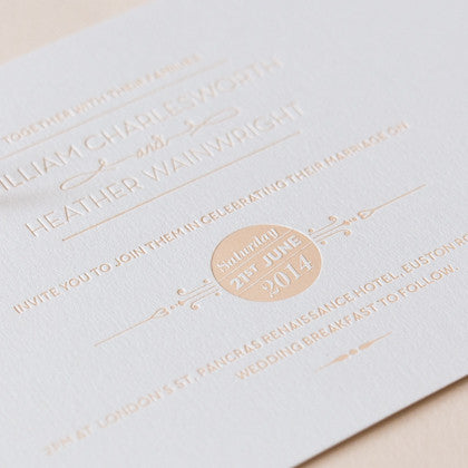 St Pancras Collection Letterpress Invitation, Nude on White