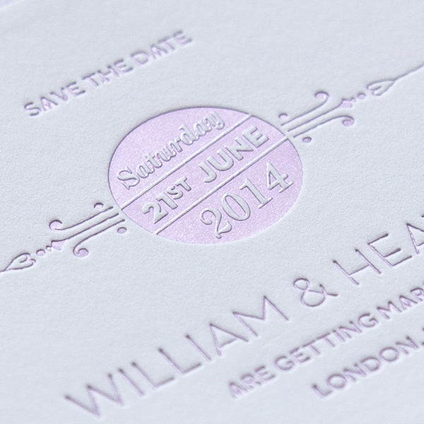St Pancras Collection Letterpress Save the Date, various colours
