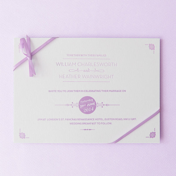 St Pancras Collection Letterpress Invitation, Lilac on White