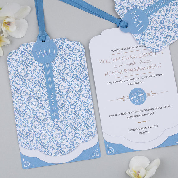 Love Lace Luxe Invitation suite in Barlow Blue