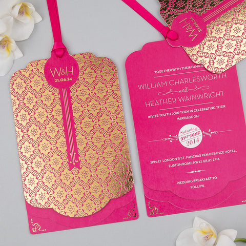 Sample - Love Lace Metallics Luxe Invitation Gold foli on Fuchsia