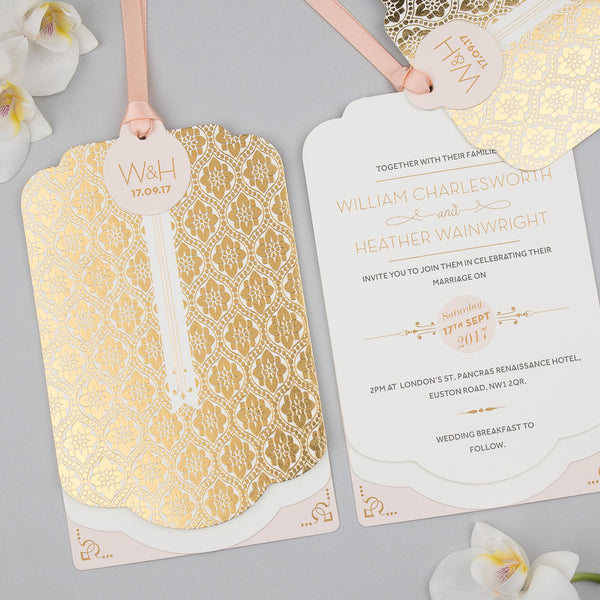 Love Lace Metallics Luxe Invitation suite in Gold foil on Ivory