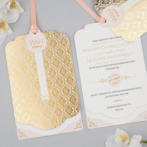 Sample - Love Lace Metallics Luxe Invitation in Gold foil on Ivory
