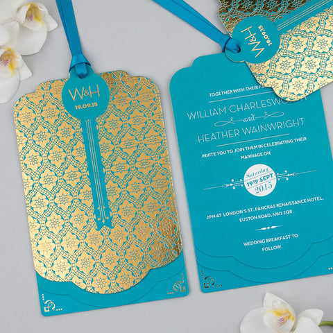 Love Lace Metallics Luxe Invitation suite in Gold foil on Peacock