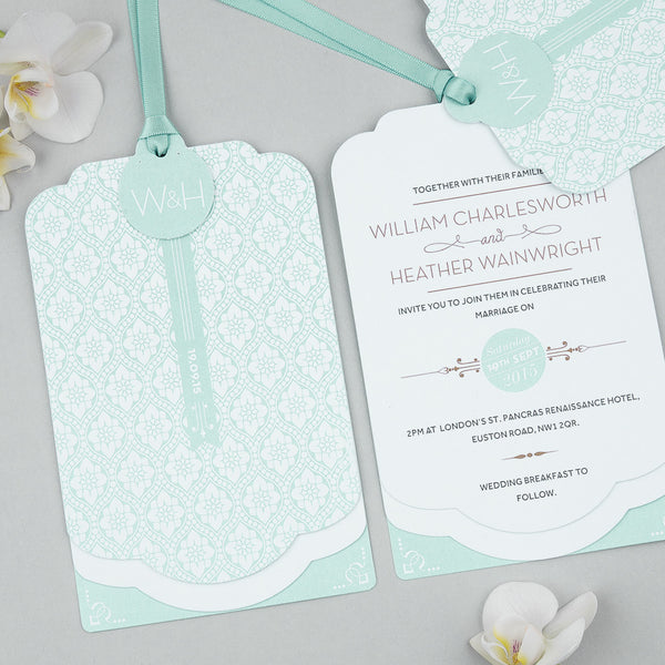 Love Lace Luxe Invitation suite in Mint