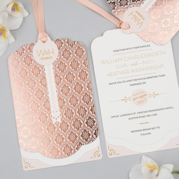 Sample - Love Lace Metallics Luxe Invitation in Rose Gold foil on Ivory