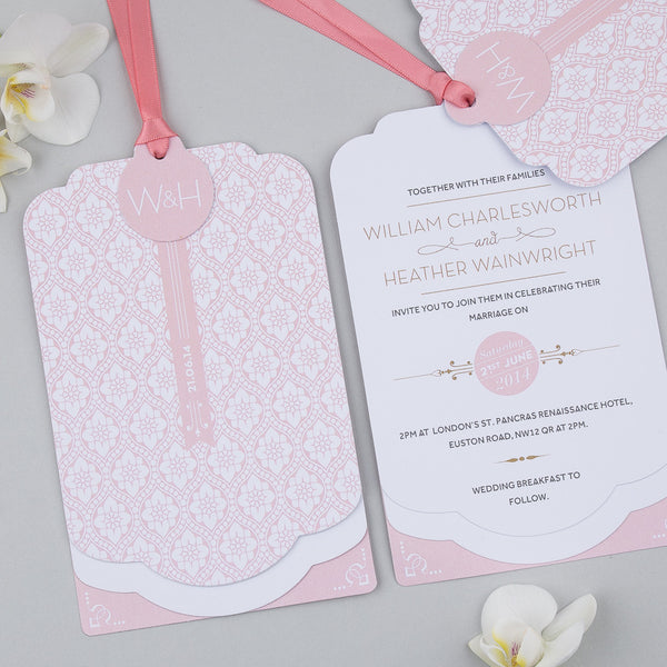 Love Lace Luxe Invitation in Salmon Pink