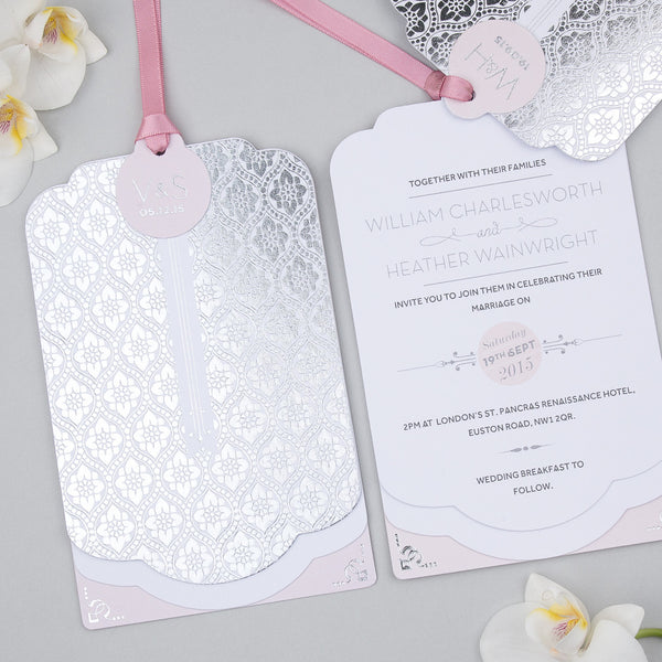 Sample - Love Lace Metallics Luxe Invitation Silver foil on White
