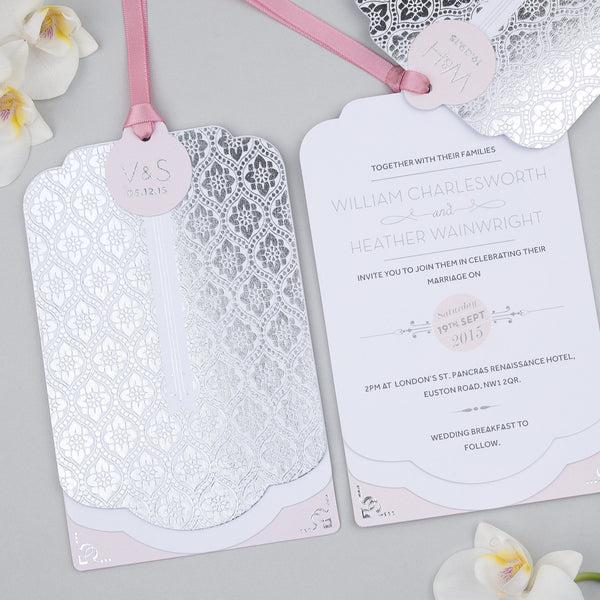 Love Lace Metallics Luxe Invitation suite in Silver foil on White