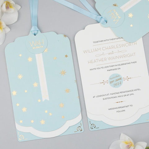 Stardust Luxe Invitation suite in Gold foil on Duck Egg Blue