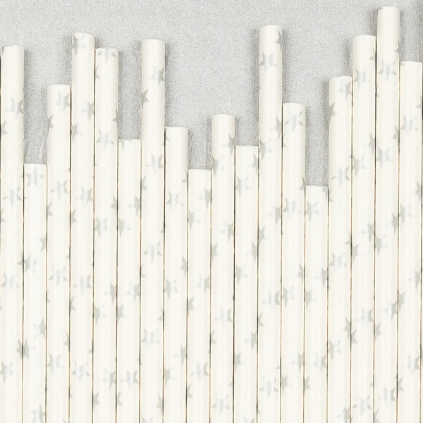 "Star Print Straws<BR>Metallic Silver<BR><font color=""#ae9a64"">Pack of 25"