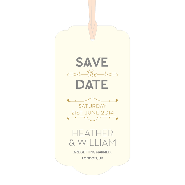 Stardust Luggage Tag Save the Date in Blush & Duck Egg Blue