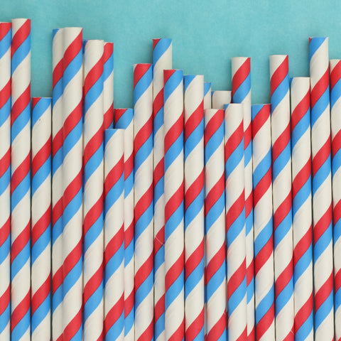 "Double Stripe Straws<BR>Red, White & Blue<BR><font color=""#ae9a64"">Pack of 25"