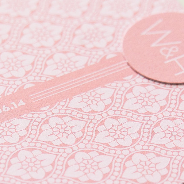 Sample - Love Lace Luxe Invitation in Salmon Pink